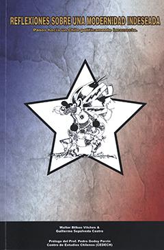 Cubierta que simula un papel arrugado, pintado con una leve tonalidad azul y roja, simulando la bandera chilena, en el medio se encuentra una estrella blanca sobre la cual se aprecia una ilustración que representa un cóndor hecho de retazos y trozos. En el borde superior se lee el título de la obra y en el inferior los nombres de los autores.