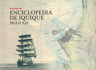 Cubierta ilustrada por dos imágenes fundidas, a la izquierda se aprecia una fotografía en blanco y negro de la embarcación chilena La Esmeralda, a la derecha se ve un mapa de Chile. En la mitad superior izquierda se lee el nombre del autor y el título de la obra.