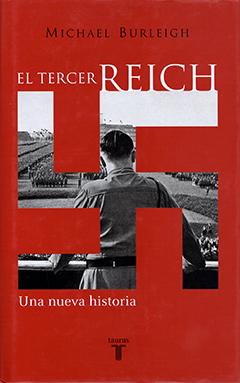 Sobre un fondo rojo aparece una esvástica nazi a través de cual se ve una imagen en blanco y negro de Hitler, de espaldas, dando un discurso al ejército alemán. El nombre del autor se encuentra en letras de color negro y el título en letras de color blanco.