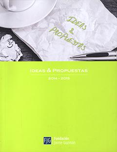 """Cubierta de color verde limón, ilustrada en su parte superior por una fotografía en blanco y negro, en que se ve parte de una taza, una servilleta que dice """"Ideas & propuestas"""" y un bolígrafo. Bajo la fotografía se encuentra el título en letras medianas de color blanco."""