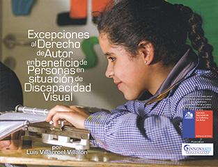 Cubierta ilustrada por la fotografía en colores de una niña, con delantal de colegio, leyendo en braille. En la parte izquierda se encuentra el título en letras medianas de color blanco. En la parte inferior izquierda aparece el nombre del autor en letras pequeñas de color blanco.
