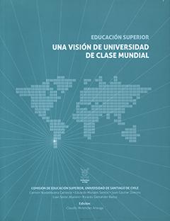 Cubierta de color verde-agua, ilustrada por un mapa del mundo y varias líneas que convergen en Chile. En la parte superior derecha se encuentra el título en letras medianas de color blanco. En la parte inferior central aparece el nombre del editor en letras pequeñas de color blanco.