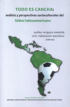 Cubierta de color gris, ilustrada con dibujo de América Latina, de color verde y con una pelota de fútbol. Título en borde superior de la cubierta en letras de colores verde y negro. Nombres de los editores en mitad superior derecha de la cubierta con letras de color plomo.
