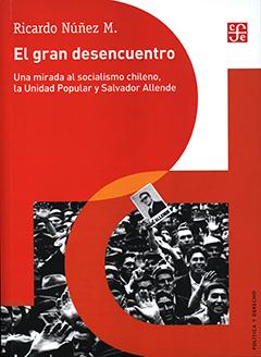 Cubierta de colores rojo, naranjo y blanco. En la parte superior se encuentra el nombre del autor y el título en letras medianas y grandes de color blanco. En la parte inferior se aprecia una fotografía en blanco y negro, en la que se se ve a un grupo de personas en una manifestación, una de ellas sostiene una fotografía de Salvador Allende.