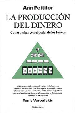 Cubierta de color blanco, ilustrada al centro por un triángulo color verde, donde se ven distintos tipos de dinero: billetes, monedas, tarjetas de créditos, entre otros. En la parte superior se encuentra el nombre del autor y el título en letras grandes y de color negro.