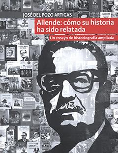 Cubierta ilustrada con el dibujo del rostro de Salvador Allende en blanco y negro; de fondo se ven diversas imágenes relacionadas con él. Título en parte superior, en franja de color rojo, con letras grabdes de color blanco. Nombre del autor sobre el título, en franja de color plomo, con letras medianas de color blanco,