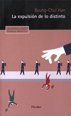 Cubierta de colores negro y rosado, ilustrada por una imagen en que se ven figuras de hombres vestidos igual caminando en una fila y dos ellos, que visten de manera diferente, fueron arrojados fuera de la fila. En la parte superior, en fondo color negro, aparece el nombre del autor en letras color rosado y el título en letras color blanco.