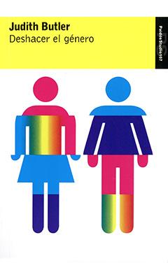Cubierta de color blanco, ilustrada por dos figuras humanas de hombre y mujer, en diversos colores. En la parte superior, en una franja de color amarillo, se encuentra el nombre de la autora con letras medianas y gruesas de color negro y, más abajo, el título con letras medianas de color negro.
