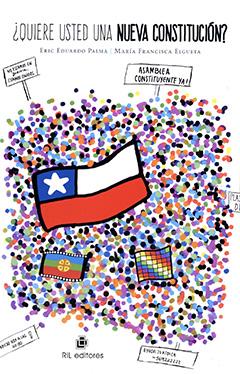 Cubierta de color blanco. En el centro se ve la bandera chilena y un poco más abajo podemos apreciar otras dos, la del pueblo mapuche y los pueblos andinos, ademas podemos visualizar en la parte superior de la portada el título de la obra y el nombre de los autores con letras de negras.